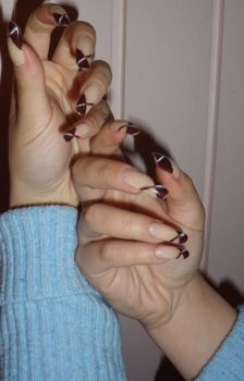 French Manicure Dipped in Choc by alissaho