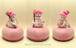 Miniature woolly pink Snowman figure pincushion by BethMiniWorld