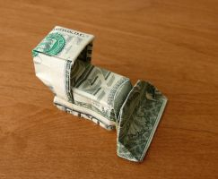 Dollar Bill Origami Bulldozer by craigfoldsfives