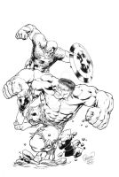 Hulk vs Cap by MarkMorales
