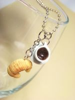Coffee and croissant necklace by kawaiibuddies
