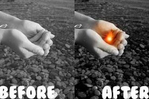 Fire ball in hand: before and after by Drsela