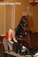 Ann adjusting my tack - hoofs are useless! by Mars-The-Horse