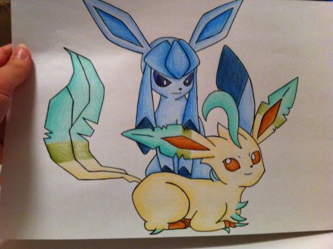 Glaceon and Leafeon by sazmullium