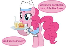 Pinkie Pie as a Waiter For Hay Burger by 1dkv