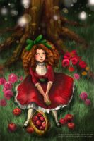 red apple girl by mojoncio