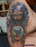 Wizard with Crystal Ball Tattoo by MuddyGreen