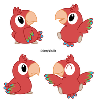 Chibi Red-and-green Macaw by Daieny