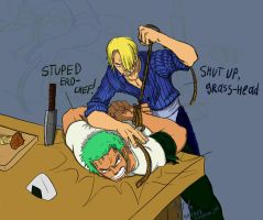 Sanji vs Zoro Sleight of hand by RagnareK