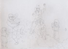 Snowball fight! (scetch) by BlueDecember89