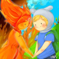 Finn and Flame Princess - AT Fanart by prototypix