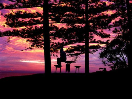 Pondering Under a Pink Sky by Meggsy