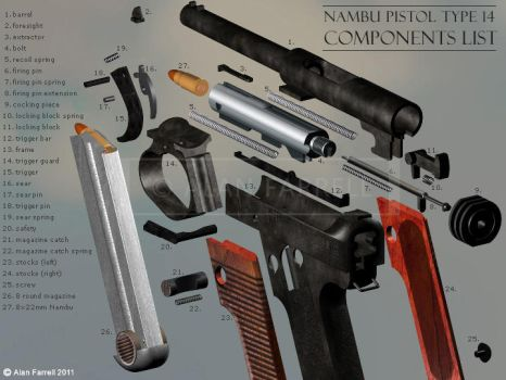 Nambu Pistol (Type 14) exploded view by AlanFarrell