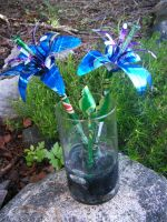 Recycled Pop Can Lg Blue Lily2 by Christine-Eige