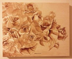 Flowers wood panel by Sheharzad-Arshad