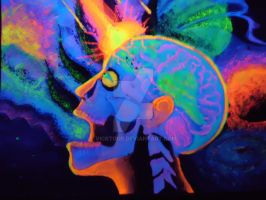 Psycadellic blacklight skull by vicktour