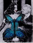 Dita Vont Teese and Jean Paul Gaultier by drawinglerp