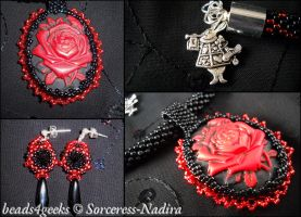 Red Queen Beaded Rose jewellery set by Sorceress-Nadira