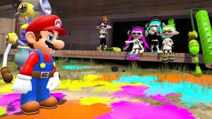 After Turf War, Mario has cleaning to do. by ASpider25