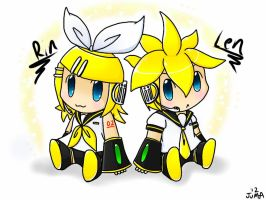 Chibi Rin and Len on iPad by Neon-Juma