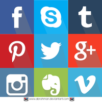 9 Flat Sosial Media Icon (long Shadow) by abrohman