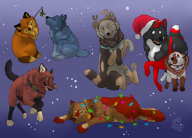 2013 Free christmas wolfies FINISHED by Sally-Ce