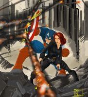 Cap and Black Widow by MeaT-Artworx