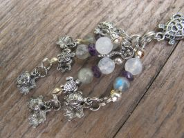 Silver and Shell Turtle Hair Dangle Closeup 4 by Windthin