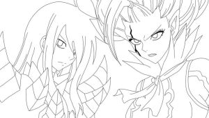 Erza and Mirajane .:lineart:. by Zeldabloom101