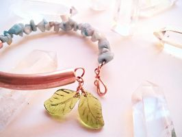 Amazonite and Leaves Copper Tube Bracelet by cranegoose