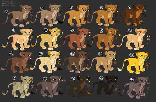 Lion-King-Cub-Adoptables (girls) open ( 1 $ each) by xCaliAngelBASESx