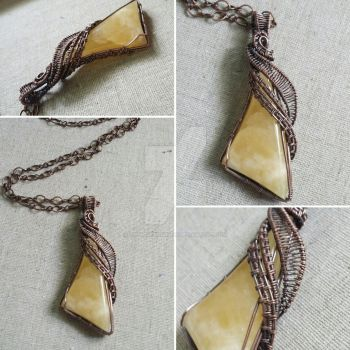 Yellow Calcite In Copper Wire by Livingdeadgirl30