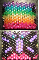 Rainbow Butterfly Kandi Cuff by anne-t-cats