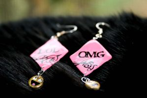 OMGLOL Earrings by Pinkatron2000