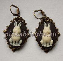 Bunny cameo victorian earrings by Pinkabsinthe