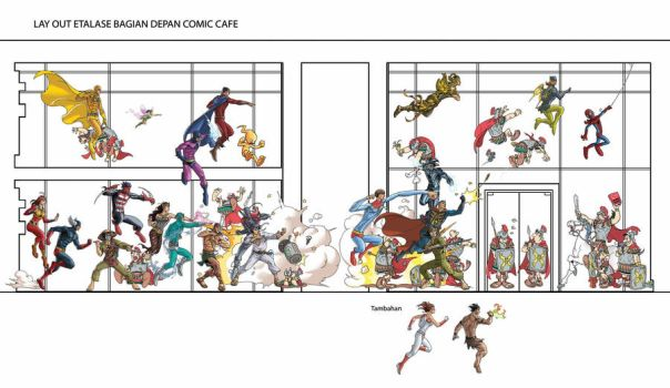 Etalase Depan Comic Cafe by arivrussanto