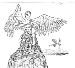 Warrior Angel Wounded (INK) by Aleayo