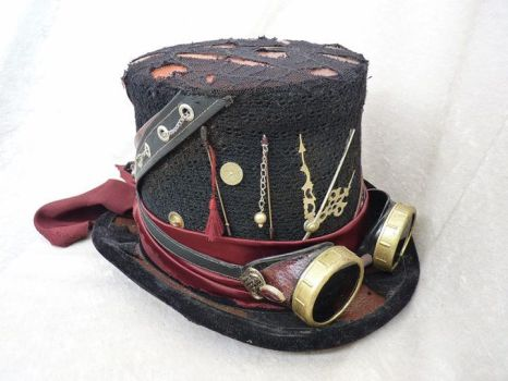 Black-Red Steampunk Top Hat with Goggles by Serata