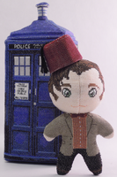 11th Doctor Who w/fez Cross Stitch Doll Stitched by rhaben