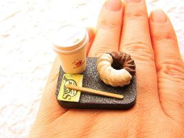 Coffee And A Donut To Go Ring by souzoucreations