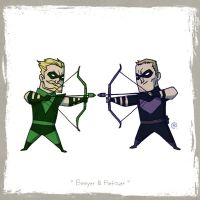 Little Friends - Green Arrow and Hawkeye by darrenrawlings