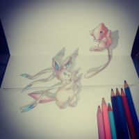 Chibi Sylveon and Mew by mypokeart