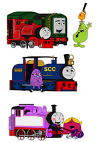 TTTE - The Mr. Men and Little Misses with trains by Percyfan94