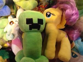 Fluttershy and a creeper!!!^^ by BronyCrafterQueen