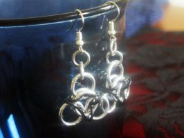 Black Chainmaille Earrings by Lassarina-Jewelry