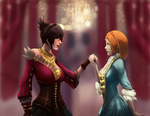 Morrigan and Leliana at the Winter Palace by swampything