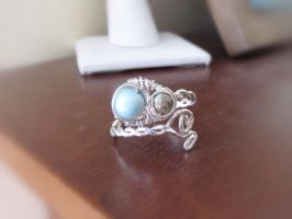 Sterling Wire wrapped ring with Amazonite by whippetgirl