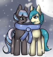 Commission: Sharing a Scarf by Anidra