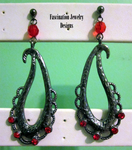Red - Gunmetal Pendant Earrings by BloodRed-Orchid