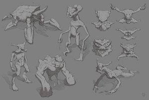 Bug and alien sketches by TyphonArt